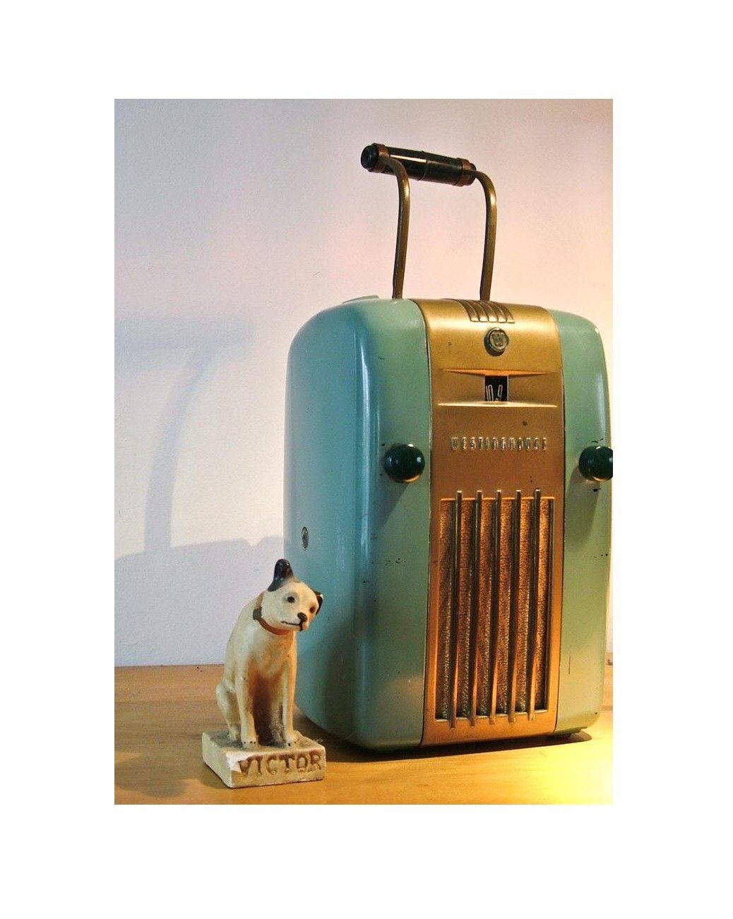 Westinghouse Refrigerator Radio H-125 Little Jewel 1945 Mid Century Deco Vintage. $182.00, via Etsy.