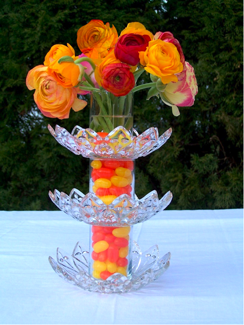 Jellybean tower centerpiece three glass candy dishes and