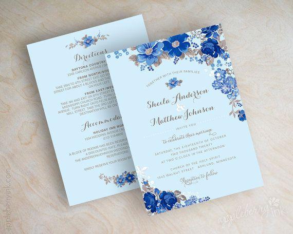 Blue Botanical Floral Wedding Invitation Antique Flowers Botanical Garden Themed Affordable Wedding Invitations Blue Themed Wedding Blue Wedding Invitations