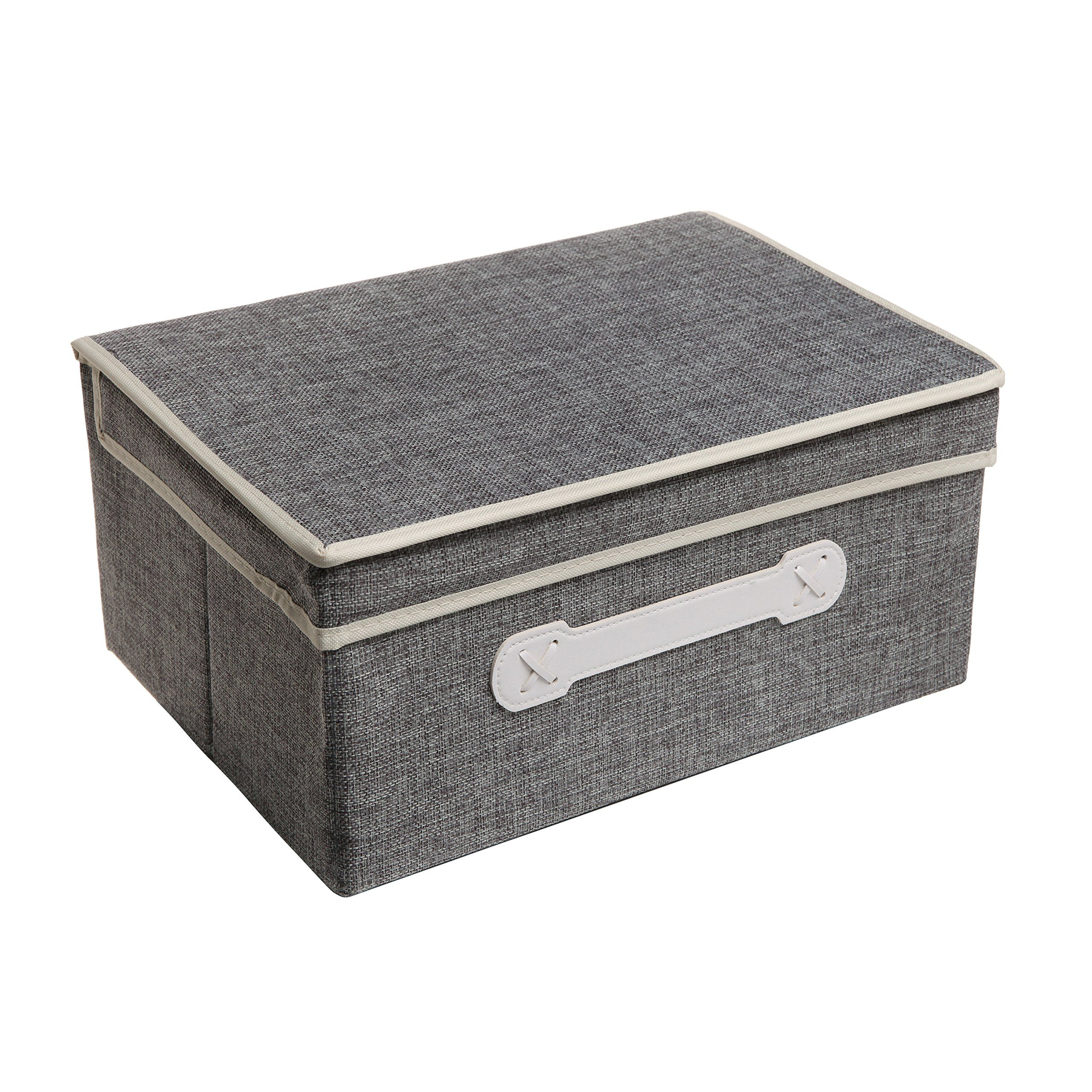 Decorative Lidded Storage Boxes Amazon  Decorative Gray Woven Collapsible Fabric Lidded Shelf
