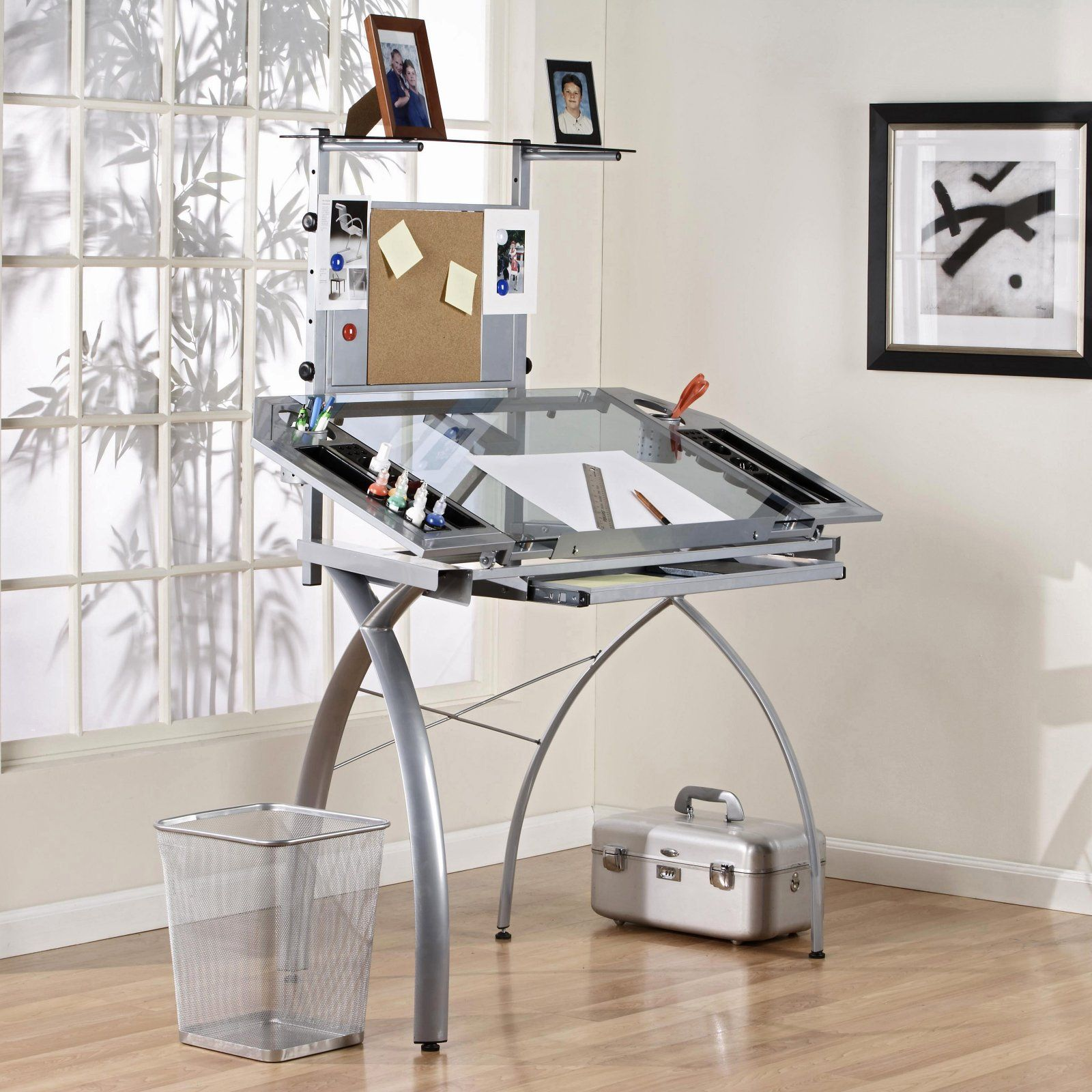 Studio Designs Glass Top Futura Tower Drafting Station Art Table For Craft  Room