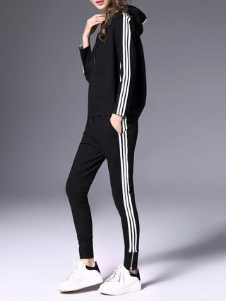 Black Binding Two Piece Casual Jumpsuit