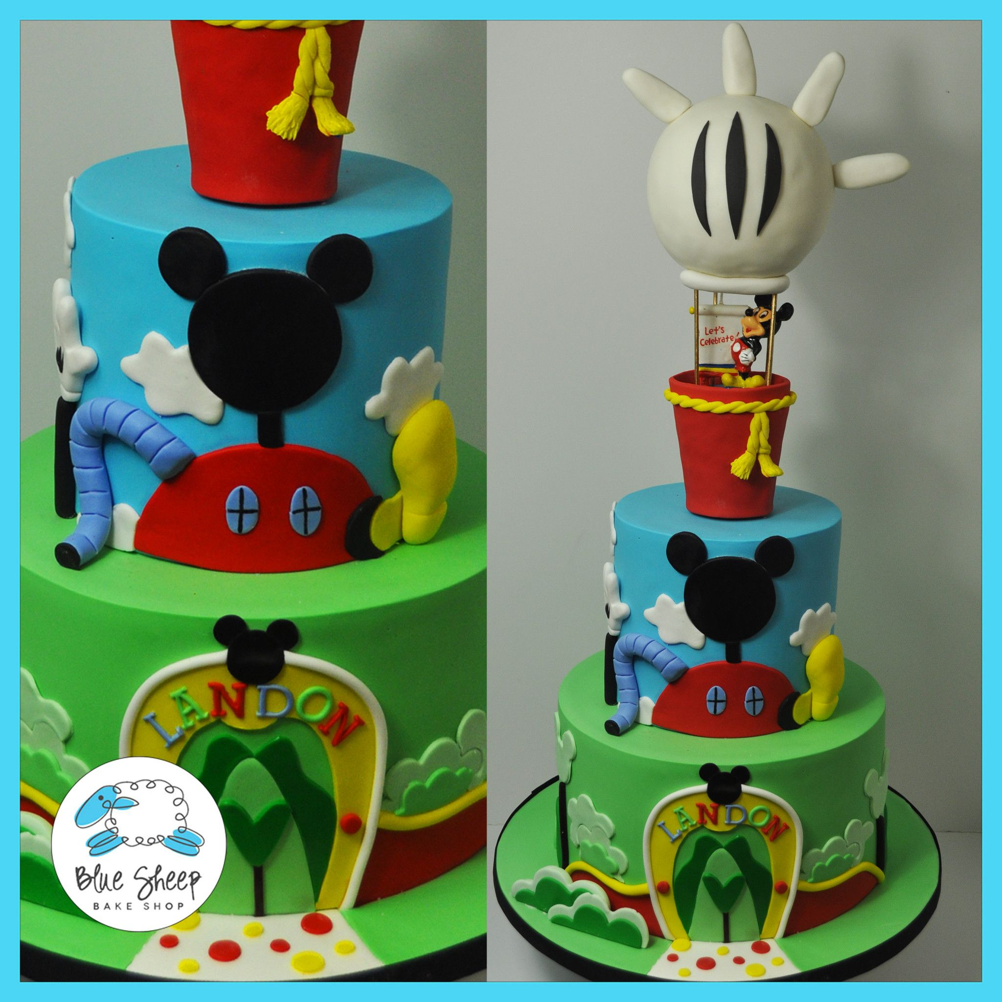 Landon s Mickey Mouse Clubhouse Hot Air Balloon Cake – Blue Sheep