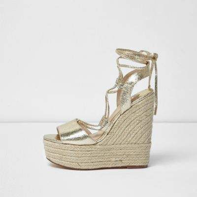 a7b12ffa9ca3d Gold tie up espadrille platform wedges - Sandals - Shoes   Boots ...