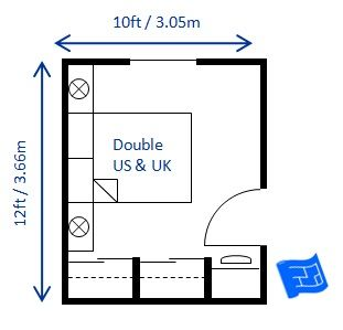 Here 39 s a small bedroom design for a double bed 10 x 12ft for 10 x 13 living room layout