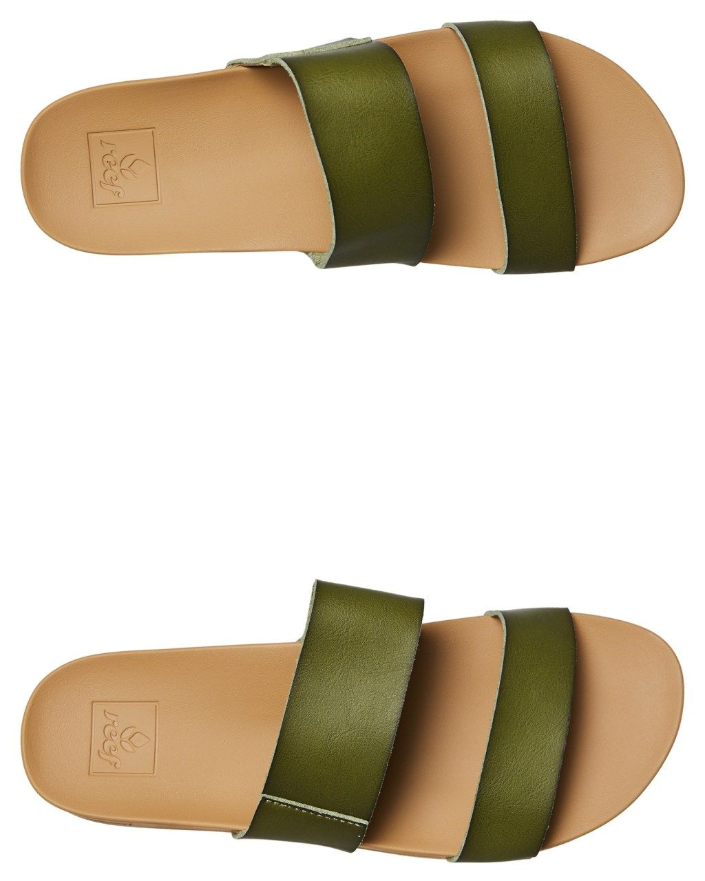 3814c50d7abb Reef Womens Cushion Bounce Vista Slide Olive Olive Womens Slippers Size 7