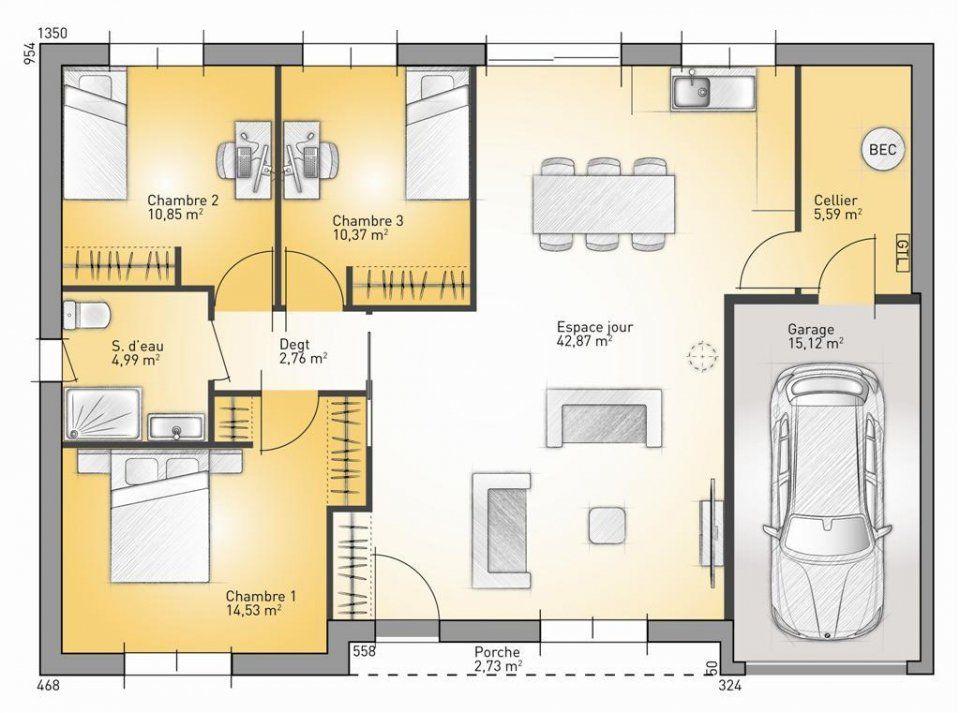 Plan maison neuve à construire - Maisons France Confort Invest 92 G - plan de maison de 100m2 plein pied