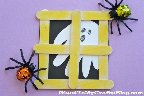 Popsicle Stick Ghost Window - Kid Craft