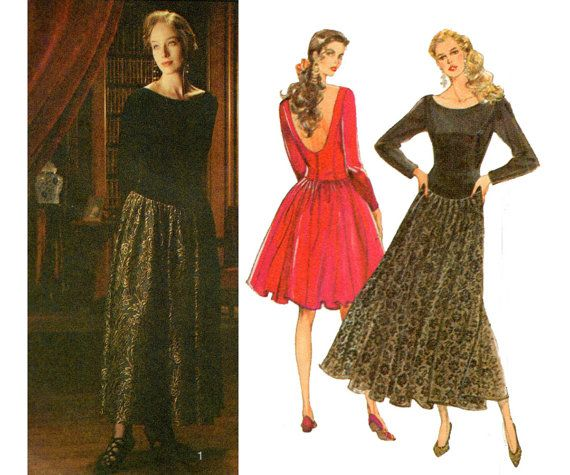 80s Style 1651 Full Skirt Low Back Dress Pattern Vintage Sewing ...