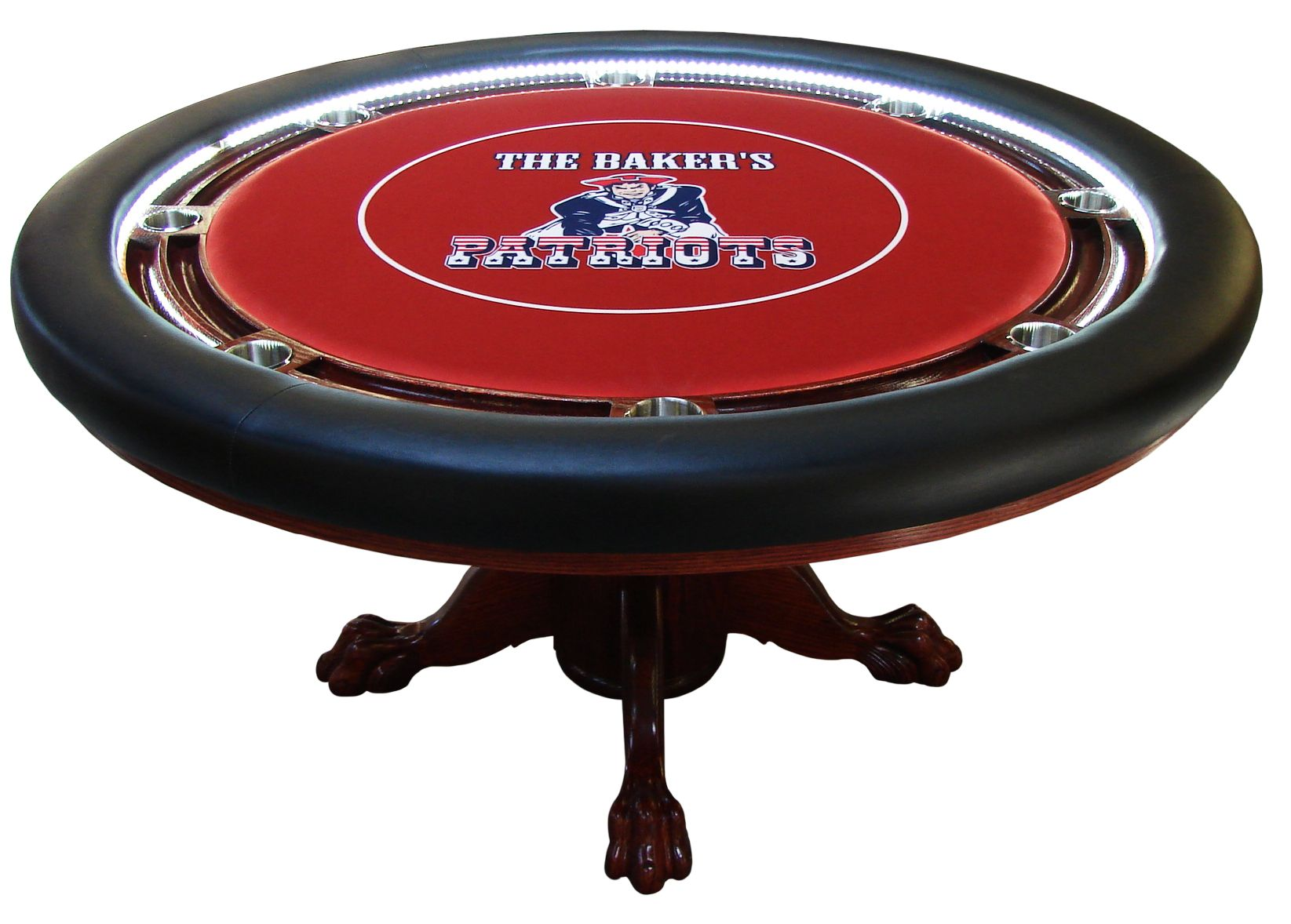 Round custom table with LED lights chip racks oak claw