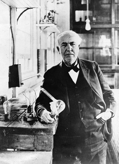 Image result for thomas edison perfected a workable electric light