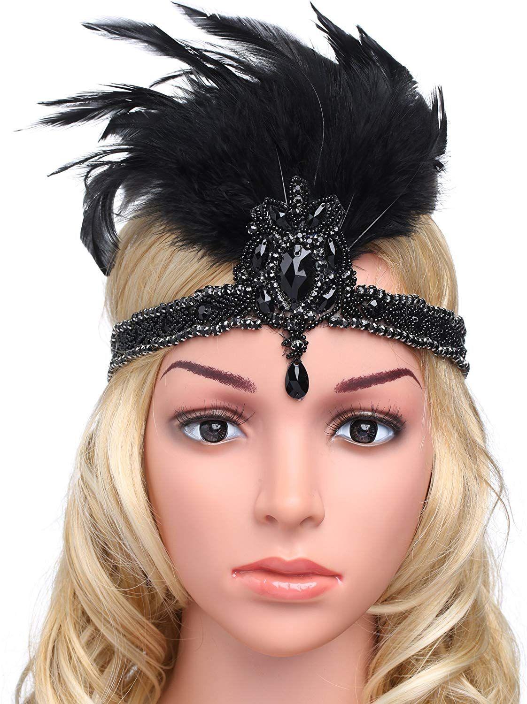 Babeyond 1920s Damen Stirnband Mit Feder 20er Jahre Stil Haarband