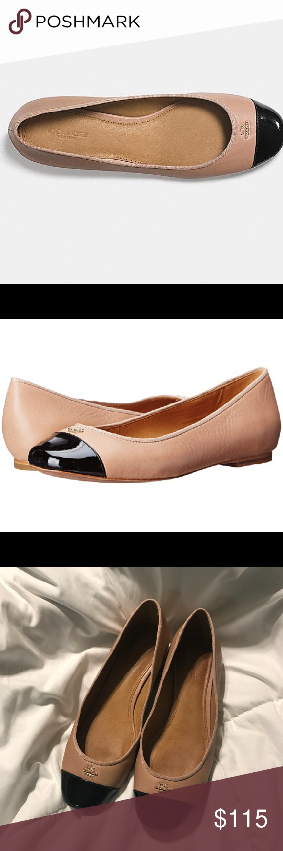 322dbbef2 Coach Samantha Cap Toe Flats - Black / Blush Worn twice! Super cute Coach  flats. Great neutral colors that go with everything.
