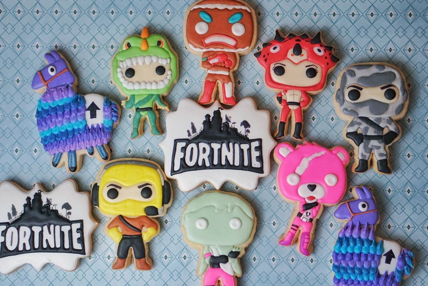 Fortnite cookies birthday cookies bday party theme
