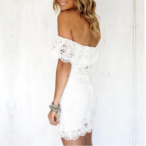 Off Shoulder White Lace Mini Dress
