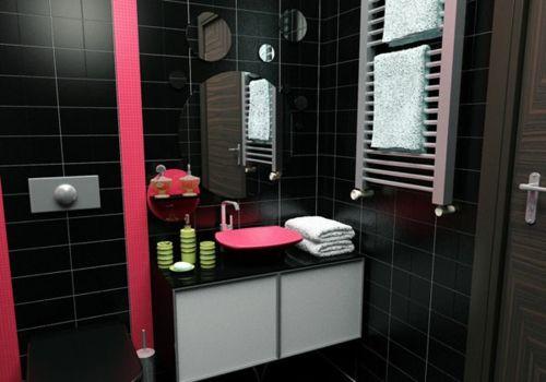 Good 33 Dunkle Badezimmer Design Ideen   Bad Einrichtung Schwarze Wandfliesen  Pinke Akzente Runde Spiegel Modern Bathroom Photo Gallery