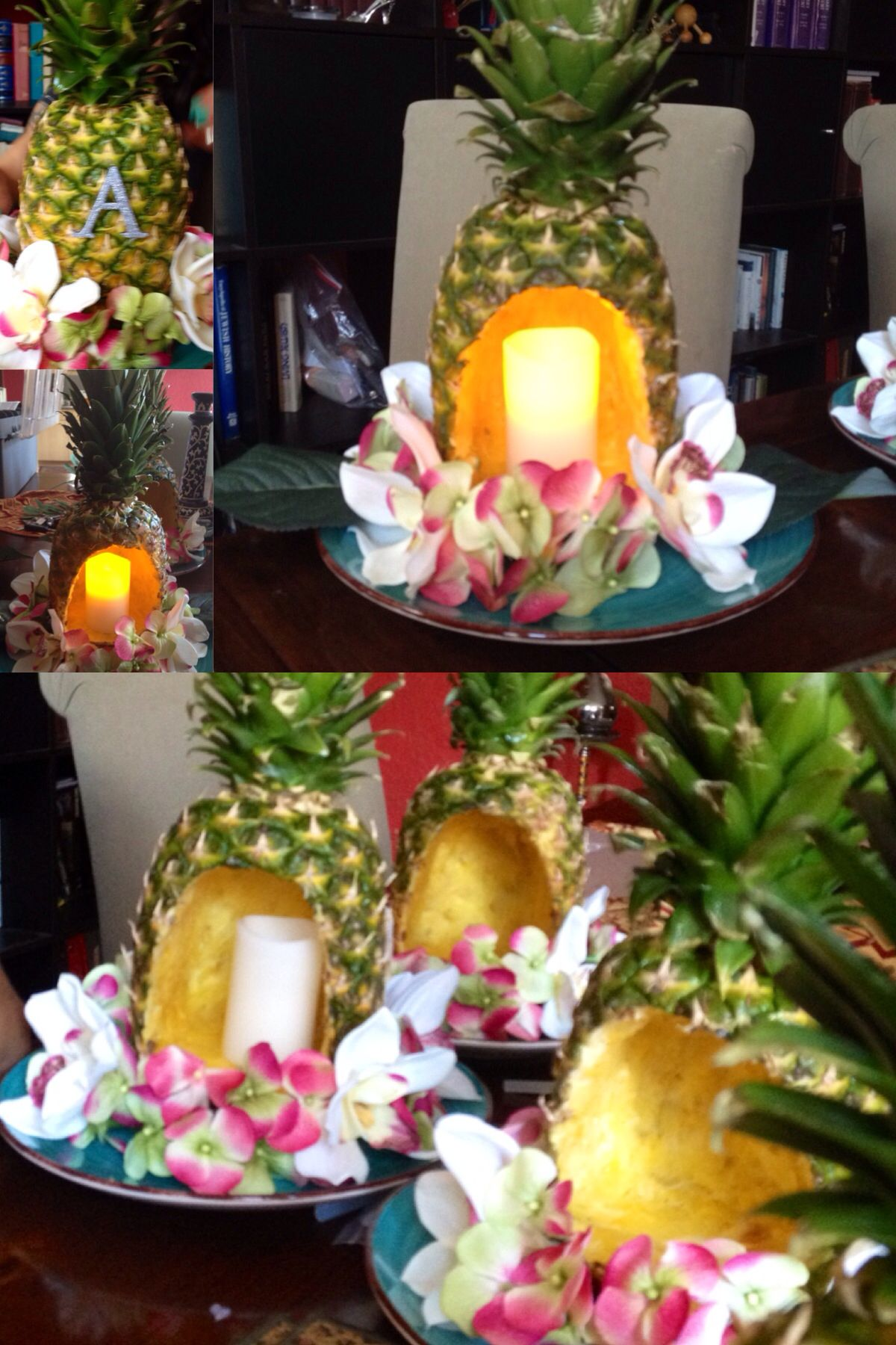 Homemade pineapple centerpieces for luau themed party for Hawaiin decorations