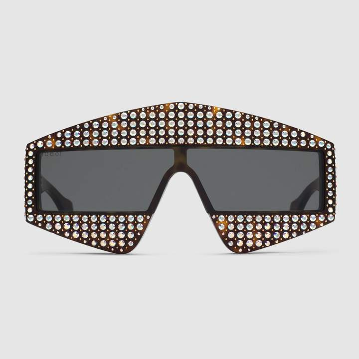 0bd9a576ba Gucci Rectangular-frame acetate sunglasses with crystals