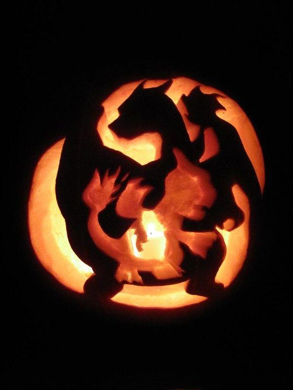 pumpkin template gaming  Pokemon Charmanders Evolution Pumpkin Carving on Global Geek ...