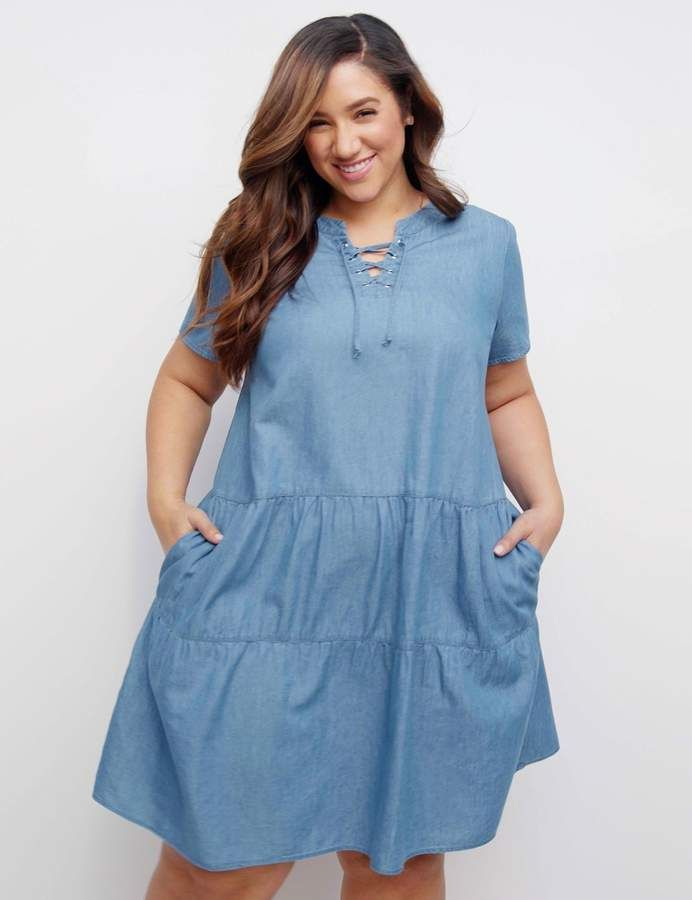 Lane Bryant Lace-Up Tiered Swing Dress in 2019 | Products | Swing ...