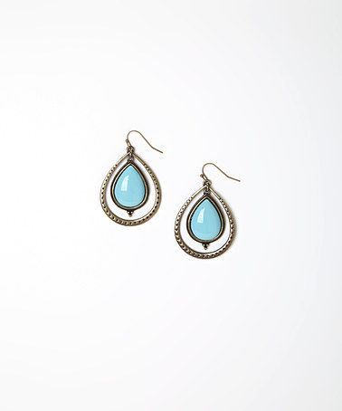 Look what I found on #zulily! Gold & Turquoise Framed Teardrop Earrings #zulilyfinds