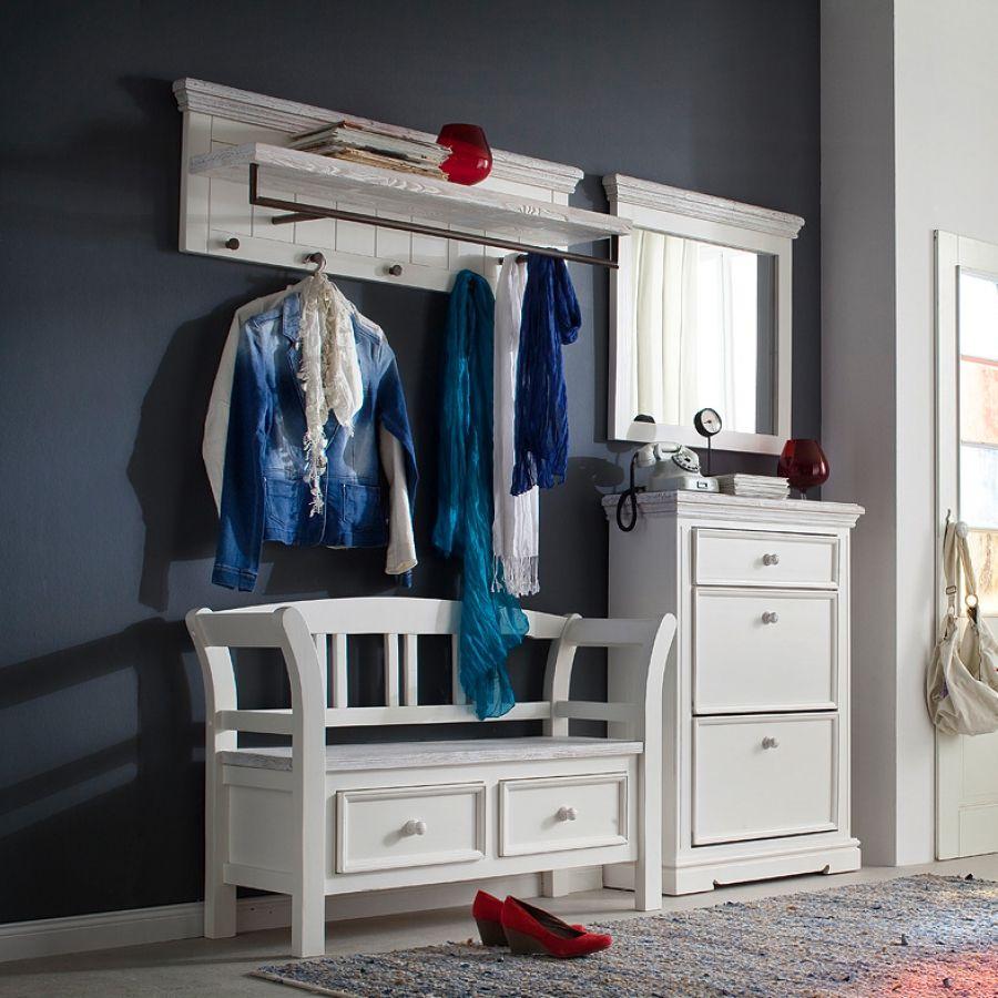 garderoben set opia ii 4 teilig kiefer massiv wei wei vintage flur pinterest m bel. Black Bedroom Furniture Sets. Home Design Ideas