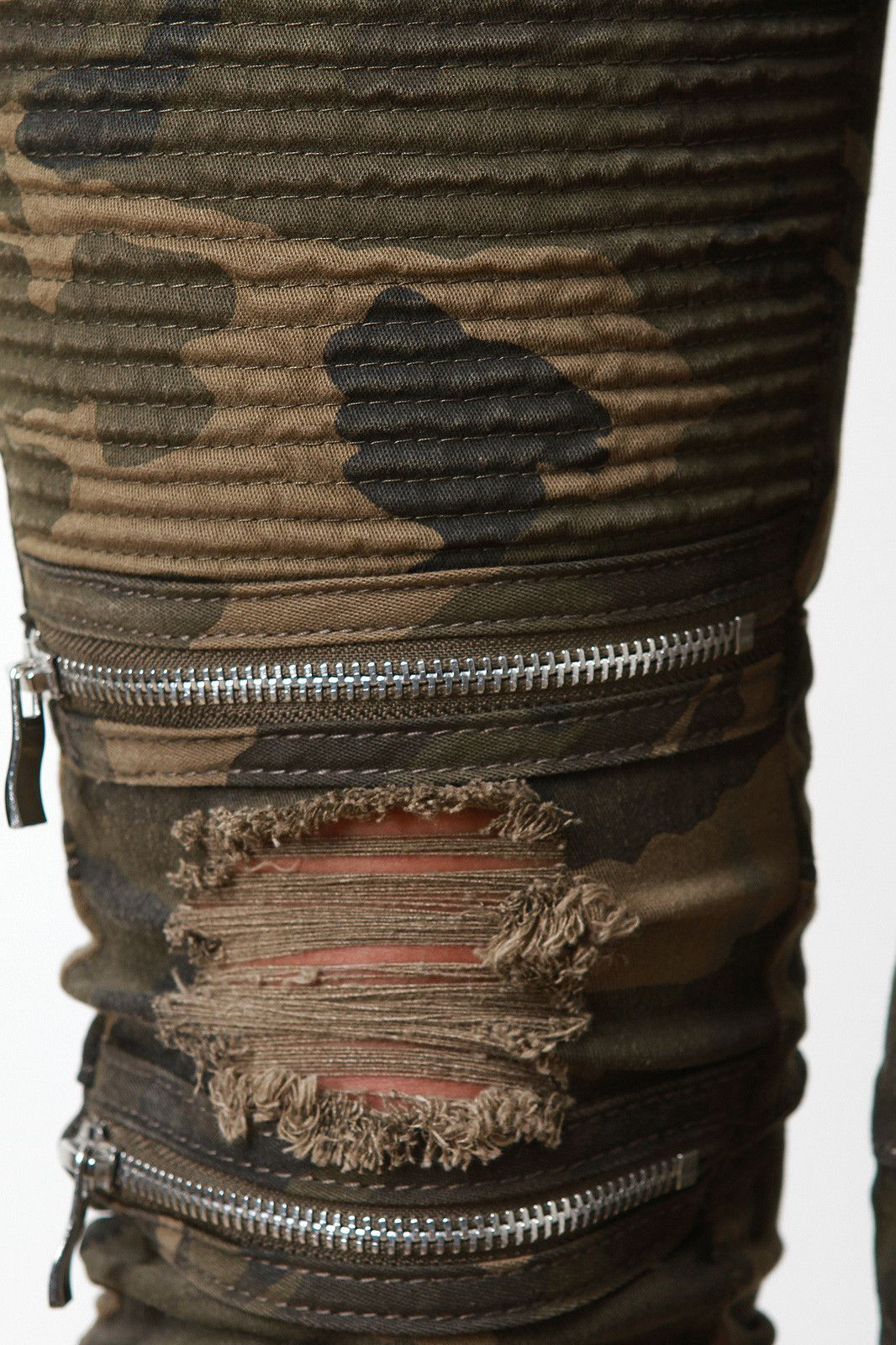 Drawstring Waist Edgy Distressed Moto Jeans