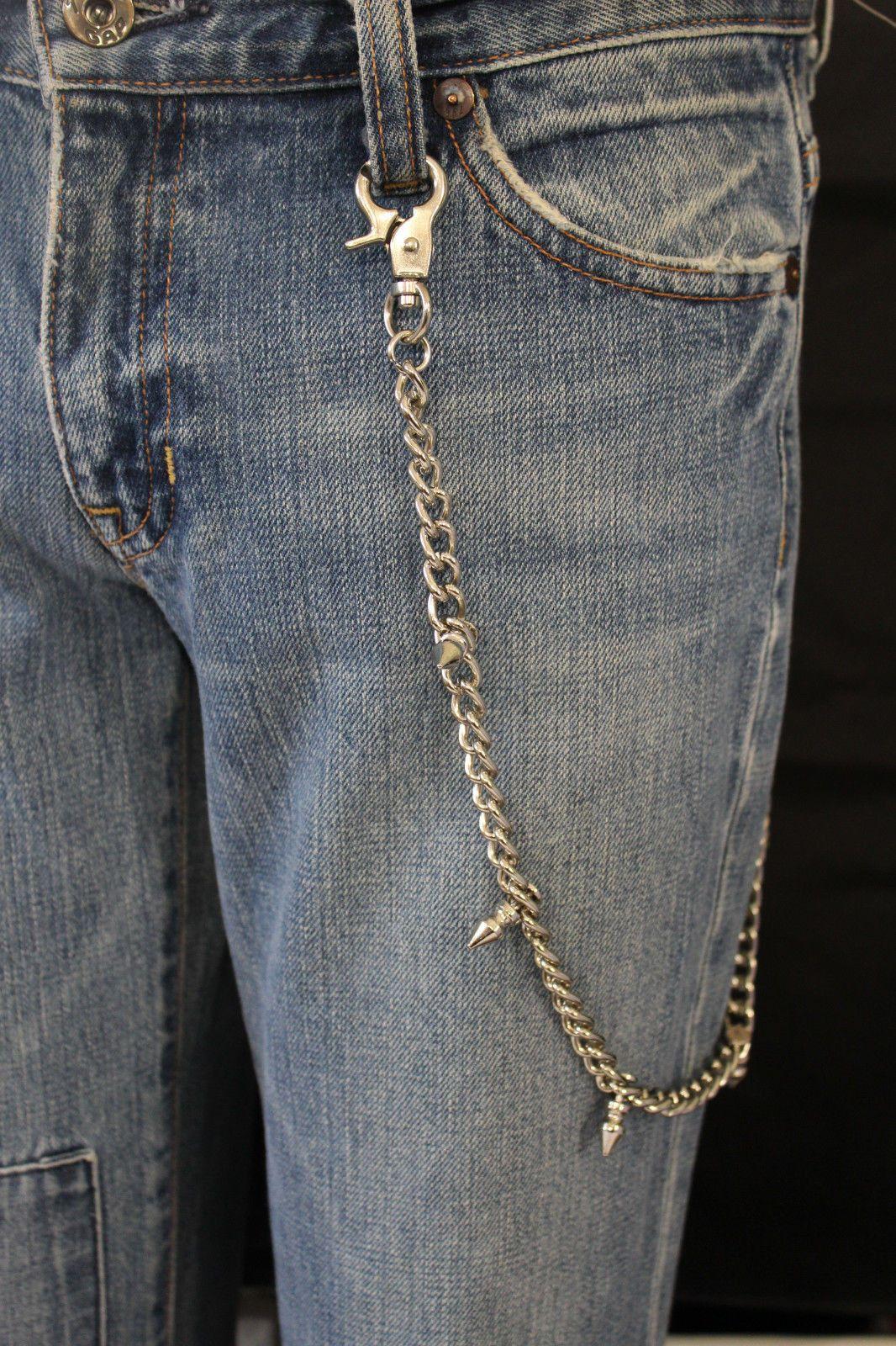 Men Style Rocker Silver Metal Long Wallet Jeans Chain Skull Biker Chunky Trucker