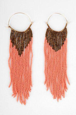 Beaded Brazil Earrings in Salmon