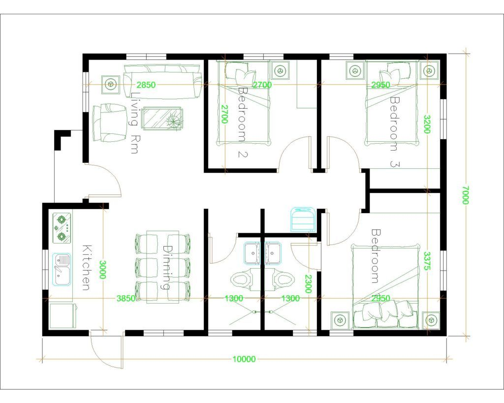 House Design 7x10 With 3 Bedrooms Terrace Roof House Plans 3d In