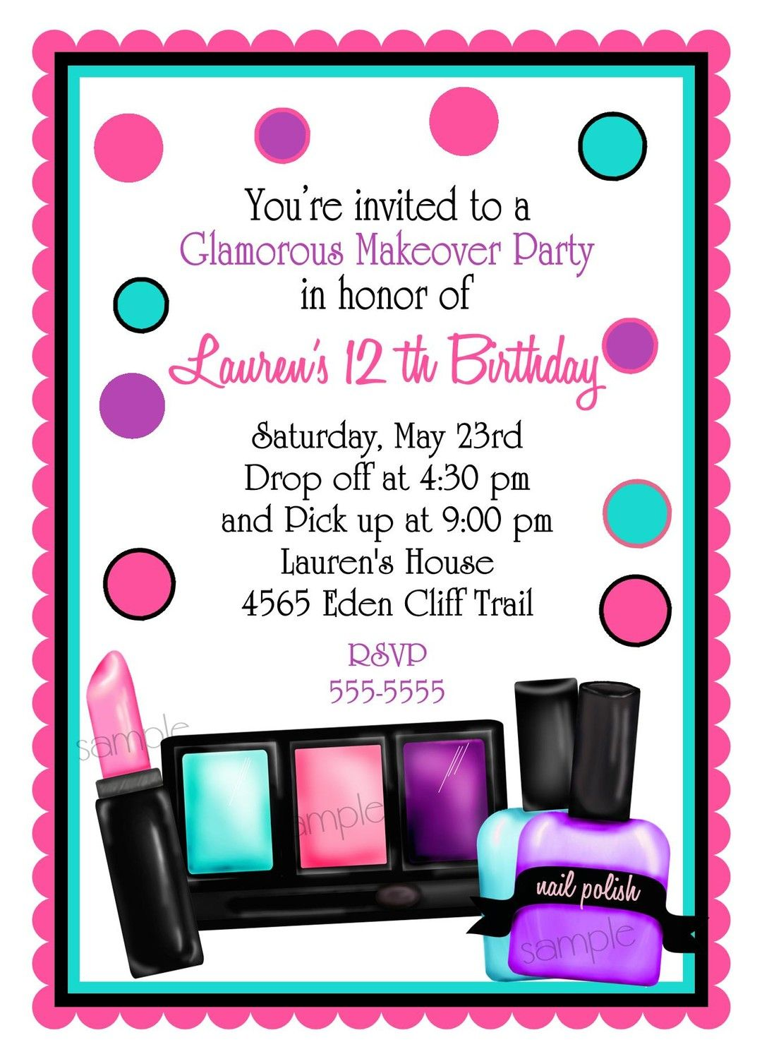 Make up Birthday party Invitations, Make up, Makeover, Sleepover ...