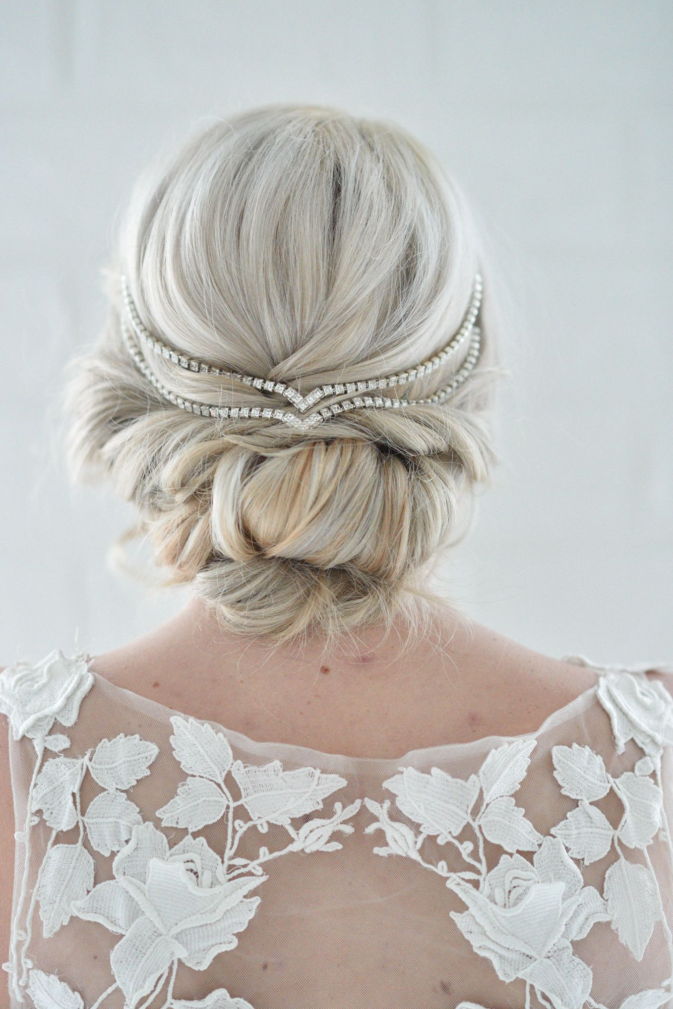 Double Draped V Headpiece Gold Silver Rose Gold Pearl