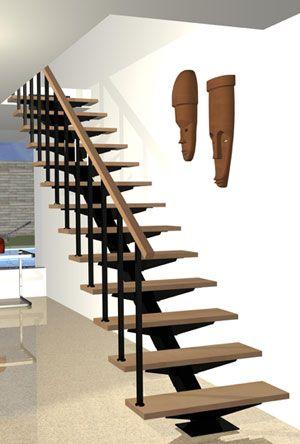 Escalera recta bonampak pinteres for Construccion de escaleras de hierro