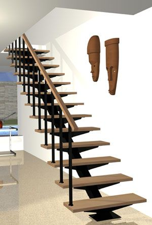 Escalera recta bonampak pinteres for Construccion escaleras interiores