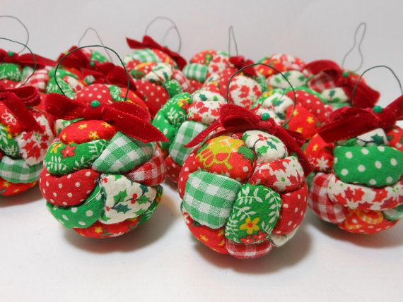 Vintage Christmas Ornaments Fabric Set of 14 Quilted Styrofoam ... : quilted ornaments to make - Adamdwight.com