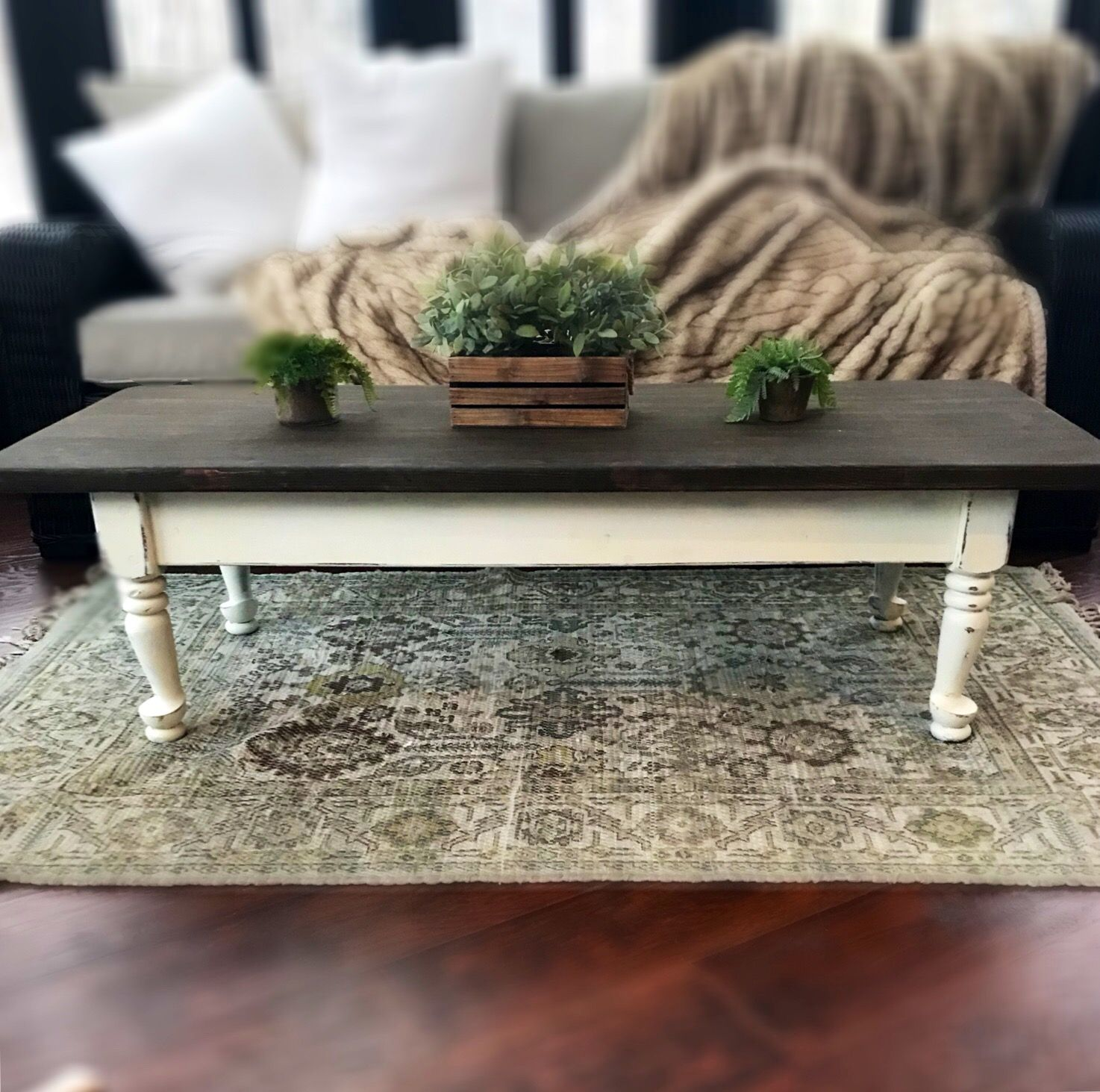 Farmhouse coffee table rustic wooden table
