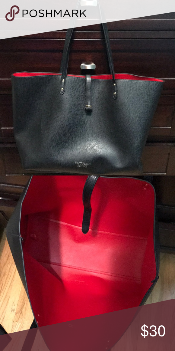 759b215cc8d4 Victoria Secret Tote Bag  NWOT  Never used- black tote with red interior  Bags Totes