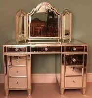 Rose Gold Dressing Table Vanity Table Vintage Art Deco Bedroom