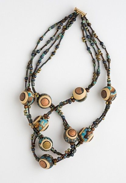 Artisan polymer bead mixed metallic finish by BethSteinDesign, $125.00
