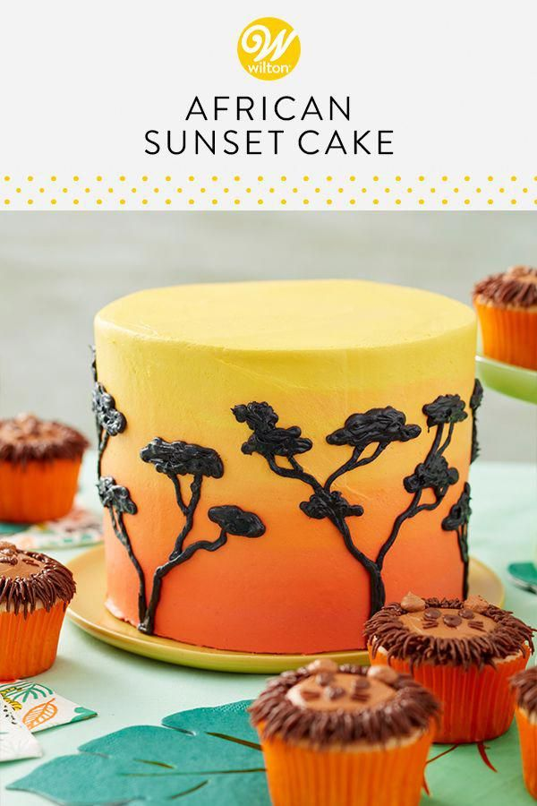 This African Sunset #cake is the perfect centerpiece for your jungle or lion-themed party. Decorated with shades of orange and yellow icing, this buttercream cake also features lovely black trees that pop against the bold background. The top of this cake has plenty of room for customization, a cake topper or birthday candles! Pair with the Fur-rocious Lion Cupcakes! #wiltoncakes #birthdaycakes #birthdayparty #kidsparty #lion #jungle #safari #africa #sunset