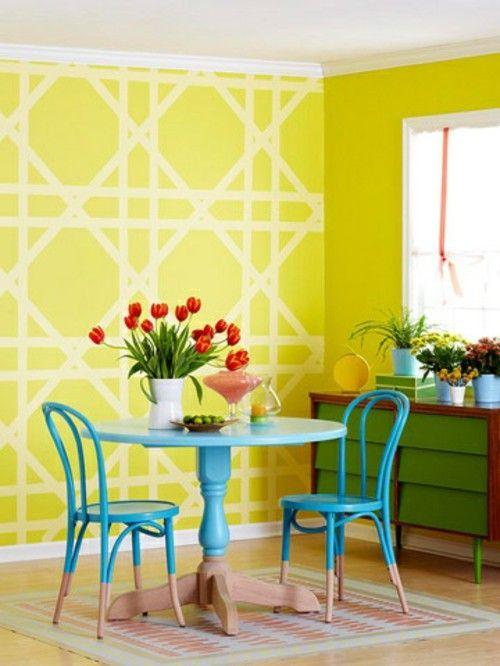 Wall pattern ideas wall decoration geometric forms yellow | Wall ...