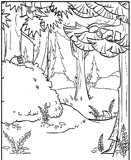 hunters hide themselves behind trees and bushes open season coloring pages - Open Season Coloring Pages