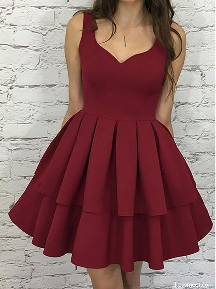 0776ad36d5 Cute A Line V Neck Open Back Satin Burgundy Short Homecoming Dresses with  Pockets