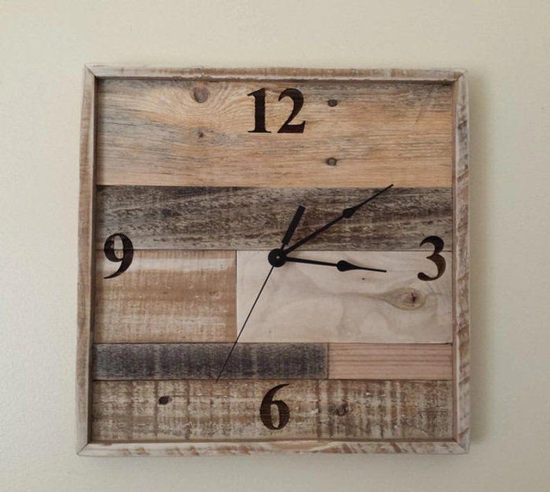 Reclaimed Wood Wall Clock Square Wall Clock Handmade Wood Clock Laser Engraved Wall Clock Pallet Wood Clock Rustic Home Decor Anniversary In 2020 Rustic Wall Clocks Wood Clocks Clock
