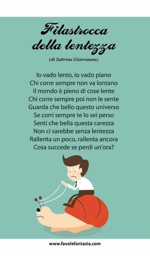 Filastrocca Della Lentezza In Italiano Words Poems School