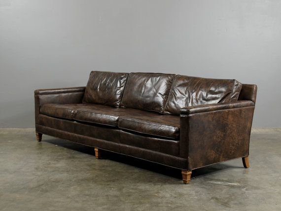 Reserved For Zoe Brown Vintage Leather Sofa Dark Chocolate Brown