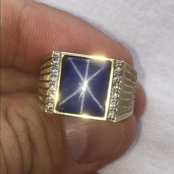 14k Gold Star Sapphire Diamond Ring Sapphire Diamond Ring Diamond Rings For Sale Gold Jewlery