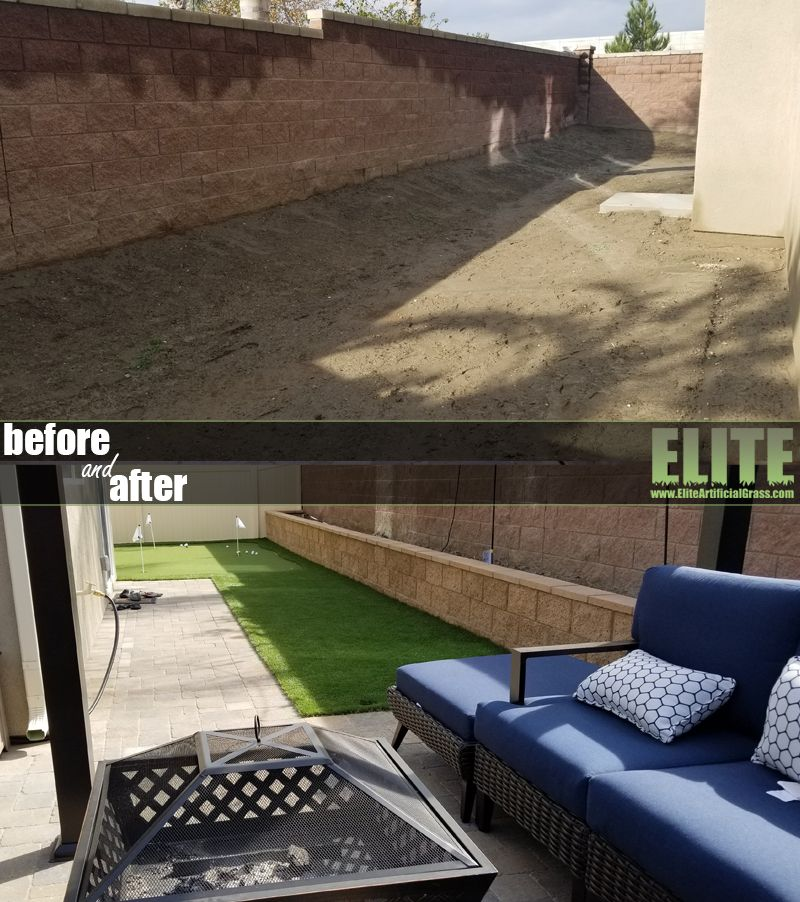 Before after fakegrass installation installing