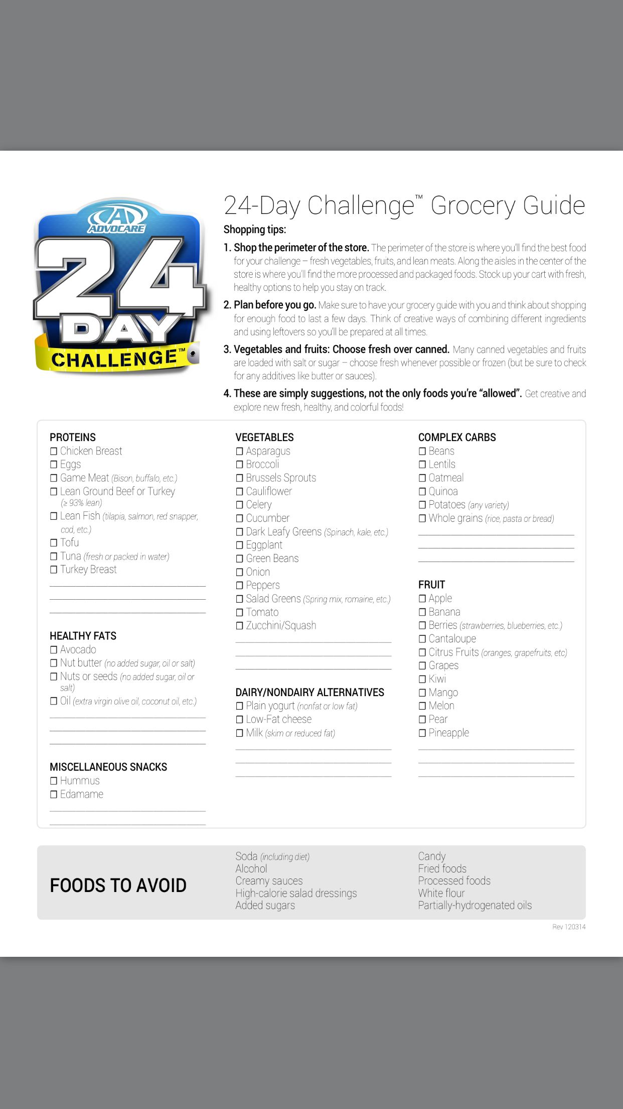 Advocare 24 Day Challenge Grocery List Fdchampions Buy Your