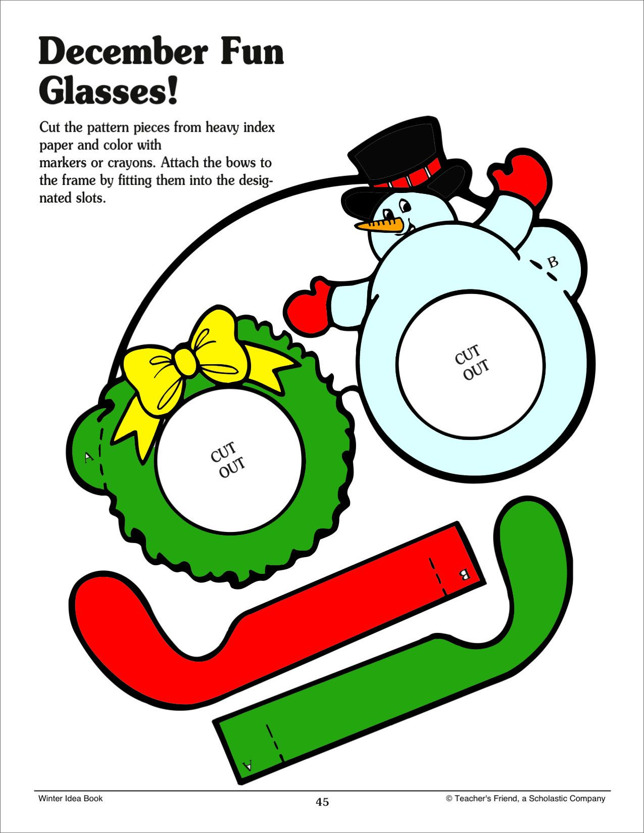 Easy #December #craft idea: Jolly eyeglasses! Students will use fine ...